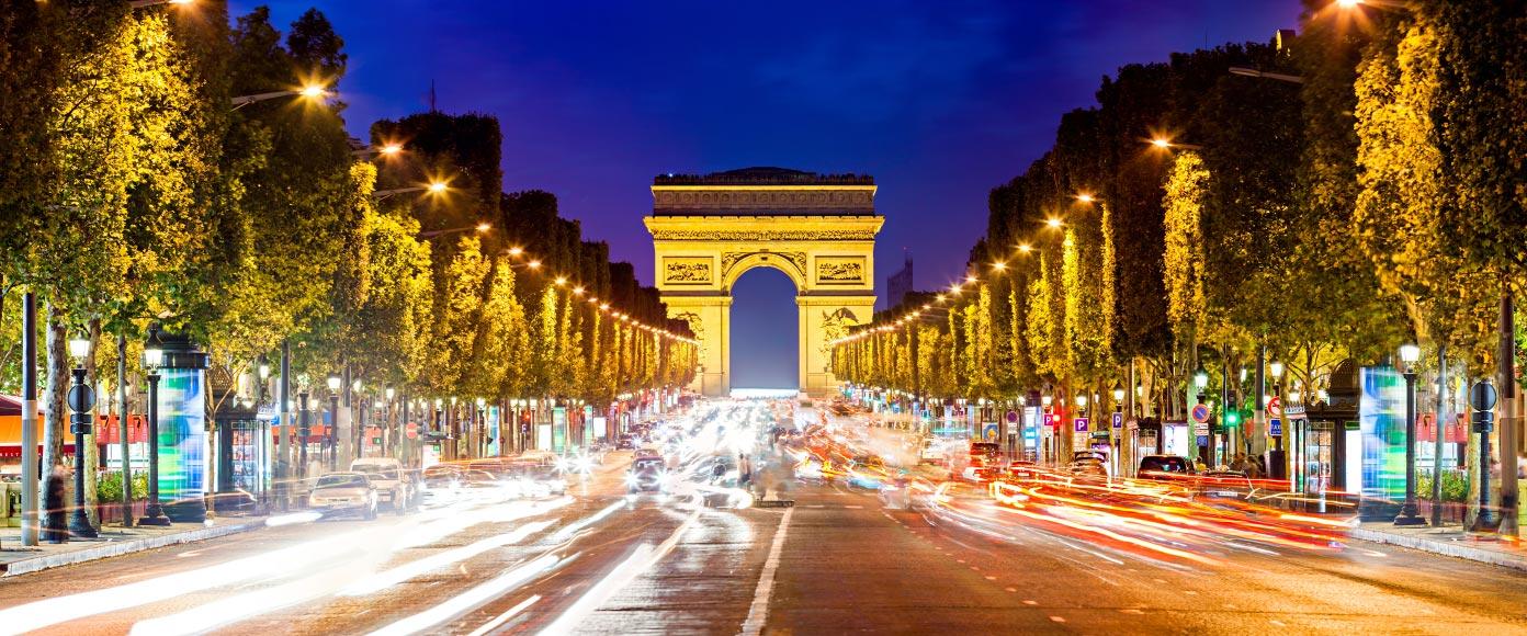 les champs elysees au crepuscule - خیابان شانزه لیزه پاریس ، فرانسه | Paris
