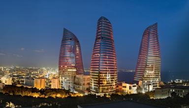 1024px flame towers azerbaijan 384x220 - برج های شعله باکو ، آذربایجان | Baku