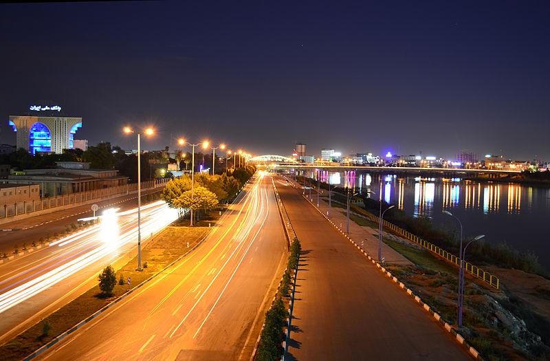 Ahvaz at night 2 - رود كارون اهواز ، پرآبترین و بزرگترین رودخانه ایران | Ahvaz